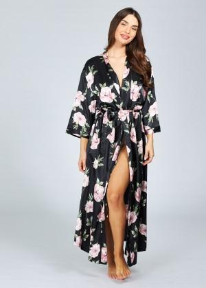 חלוק מקסי מודפס פרחים (SexySleepwear)
