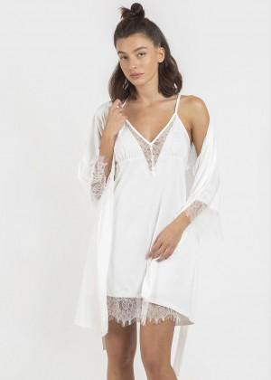 סט מיקרופייבר כותונת וחלוק משולב תחרה (SexySleepwear)